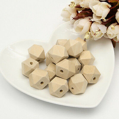 15/30/60X 18mm Geometric Wooden Beads Unfinished Natural Necklace Faceted Craft