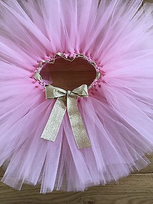 Light Pink Gold Tutu Cake Smash Baby 1st Birthday Party Outfit Ribbon Bow