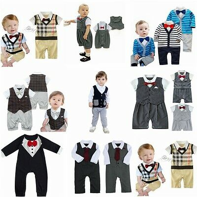 Toddler Kids Baby Boys Infant Gentleman Jumpsuit Bodysuit Romper Clothes Outfits