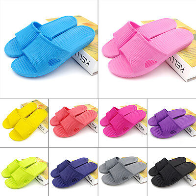 New Womens Mens Anti-slip Slippers Summer Beach Casual Flat Shoes Sandals Size
