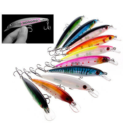 Minnow Fishing Lures Crank Bait Bass CrankBait Tackle 6# Hook 3D Eyes 11cm 13.5g