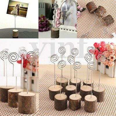 18Pcs Wooden Base Rustic Wedding Table Number Place Name MEMO Card Stand Holder