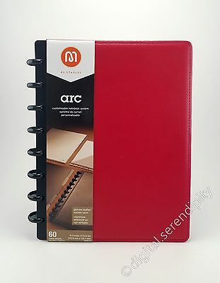 """Staples Arc 20874 Leather Notebook Card Pocket Binder Red   5.5"""" x 8.5"""" Paper  """