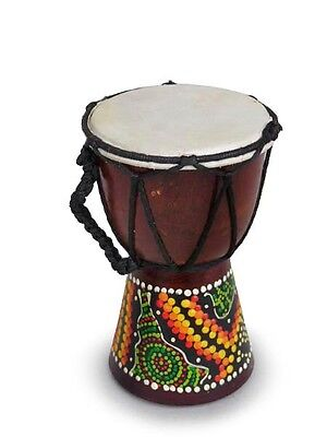 DJEMBE/BONGO /DRUMS,GOAT SKIN.HARD WOOD.FAIRTRADE (15cm tall, painted)