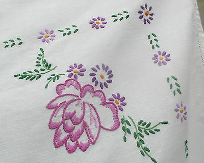Stunning Vintage Irish Linen Hand Embroidered Tablecloth