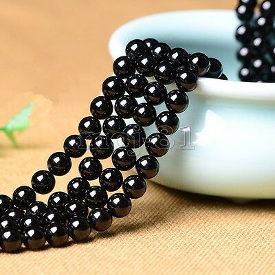 8mm Natural Smooth Black Agate Onyx Round Gemstone Loose Beads 15'' Strand AAA