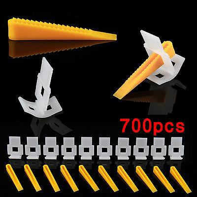 700 Tile Leveling Spacer Clips Kit 500 Clips + 200 Wedges Flooring Level Lippage