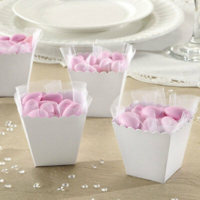 White Scallop Wedding Party Favour Boxes Table Decorations - 100 Pack