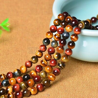 6mm Genuine Natural Colorful Tiger's Eye Gemstone Round Loose Beads 15'' AAA+