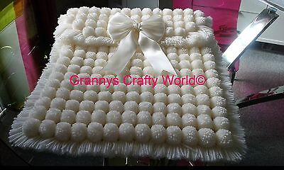 Baby Pompom Blanket - Cream Acrylic with Cream Satin Bow