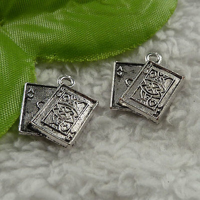 free ship 160 pieces tibet silver playing cards charms 19x17mm #4174