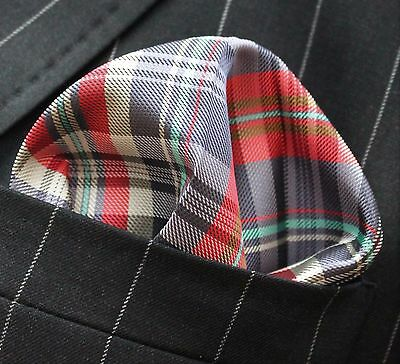 Hankie Pocket Square Handkerchief Red Blue Green & White Tartan