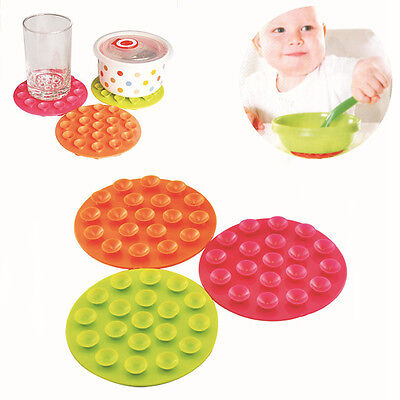 wo Sided Baby Kids Bowl Suction Cup Mat 19 Holes Tableware Sucker Anti-slip Mat