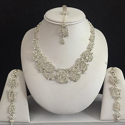 Silver Clear Indian Costume Jewellery Necklace Earrings Crystal Set Bridal New 8