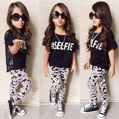 2PCS Toddler Kids Baby Girls T-shirt Tops+Floral Pants Summer Outfit Clothes Set