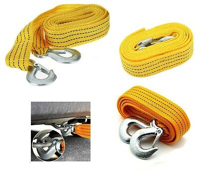New 3M 3 Tons Car Tow Rope Towing Strap Hooks Heavy Duty Car Van Road Recovery