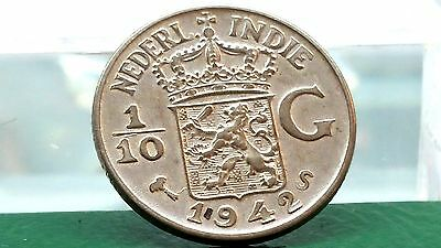 Netherlands East Indies 1/10 Gulden Silver Coin 1942 WW2 Key Date