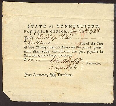 Oliver Wolcott Jr. - Promissory Note Signed 05/24/1782 With Co-Signers