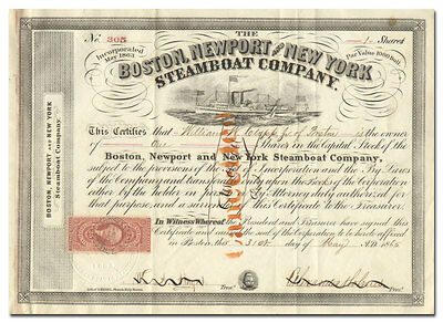 Boston, Newport and New York Steamboat Company Stock Certificate