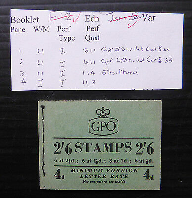 GB 1954 January Wilding 2/6 Booklet F12 with Cyl As Described NEW PRICE NB904