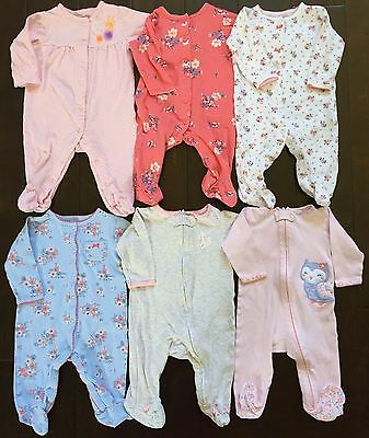 Carter's baby girl floral footed sleeper pajamas sleep and play lot 6 months