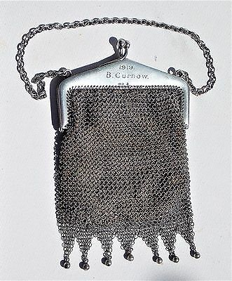 SUPERB EDWARDIAN Cohen & Charles SOLID SILVER MESH-CHAIN MAIL EVENING BAG-PURSE