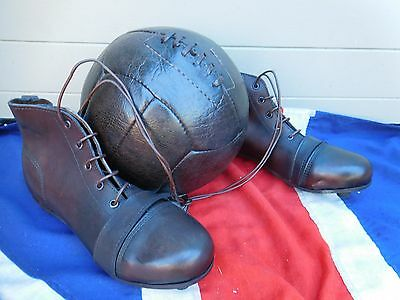 Antique Vintage Stye Leather Football Boots And Leather Football