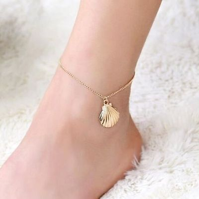 Elegant Golden Plated Shell Ankle Chain Anklet Bracelet Foot Beach Jewelry #
