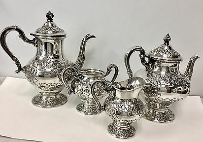 Fisher Sterling Silver Tea Coffee Set Design 2313 4pc Antique