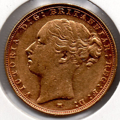 1886 Full Gold Sovereign QUEEN VICTORIA YOUNG HEAD Melbourne Mint NICE COIN