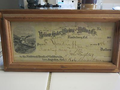 Yellow Aster Mining & Milling Co Randsburg CA Uncancelled Check Vintage 1908