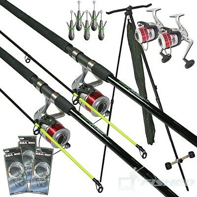2X 12ft Sea Fishing Rods & Reels With Sea Rigs Weights Tripod Sea Set