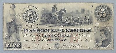 Five Dollar South Carolina Planters Bank of Fairfield Obsolete Note Circulated