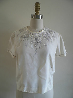 VINTAGE Ivory 100% Silk EMBROIDERED Short Sleeve Blouse Button Back 38 M 6 8