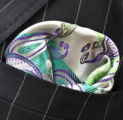 Hankie Pocket Square Handkerchief Green & Purple Paisley