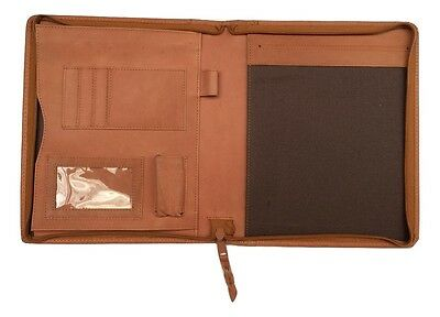 A5 Brown Real Leather folder zipped   ALSO DIARY COVER or livescribe book