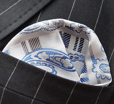 Hankie Pocket Square Handkerchief Blue & Silver