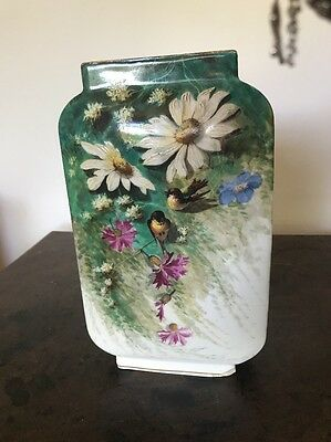 A 19th Century Paris Porcelain Tall Vase Painted With Birds And Flowers