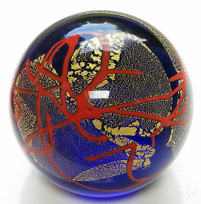 Vivid Blue Red Gold Leaf ' GLASS EYE STUDIO ' Paperweight 2000