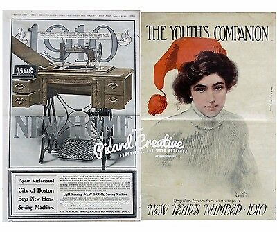 1910 Singer Sewing Machine AD NEW HOME- 2 Sided New Years 1910 Youth's Companion