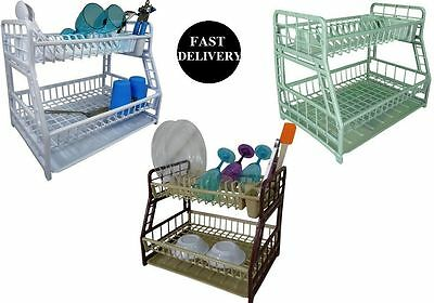 2 Tier Dish Drainer Cutlery Holder With Dip Tray Plastic Kitchen Washing Up Rack