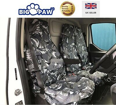 Renault Trafic Ll29 Dci Heavy Duty Waterproof Grey Camo 2 + 1 Seat Cover