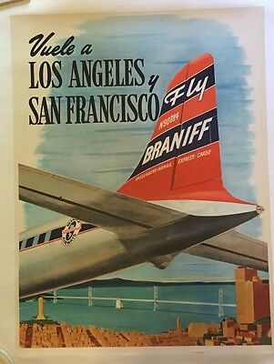 "Rare Original 19.5"" x 25.5"" Braniff Airlines 1947 ""L.A. and S.F."" Travel Poster"