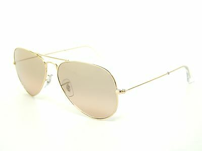 New Ray Ban RB3025 001/3E Aviator Gold/Brown-Pink Silver Mirror 55mm Sunglasses