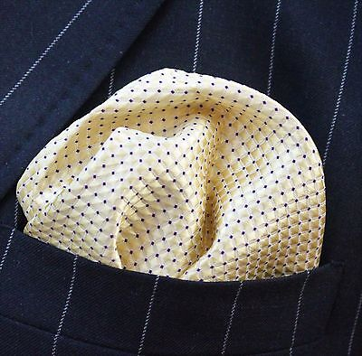 Hankie Pocket Square Handkerchief Yellow / Gold with Purple pin dot