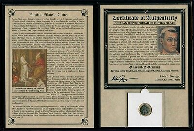 Pontius Pilate Coin With Collectors Portfolio Certified Authentic