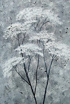 Original Signed Abstract Cow Parsley  Acrylic Landscape Painting