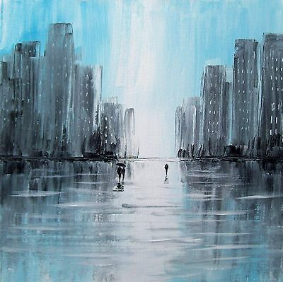 Original Rain In The City 3# Acrylic On Canvas Landscape Painting