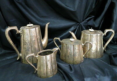early silver-plate teapot / coffee / cream pitcher / sugar bowl & lid / england