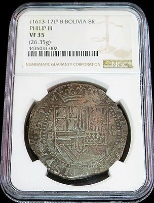 1613- 1617 P B Silver Bolivia 8 Reales Cob Philip Iii Coin Ngc Very Fine 35